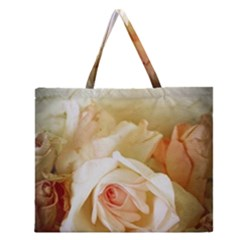Roses Vintage Playful Romantic Zipper Large Tote Bag