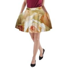 Roses Vintage Playful Romantic A Line Pocket Skirt