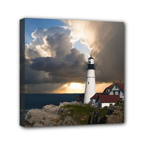 Lighthouse Beacon Light House Mini Canvas 6  X 6
