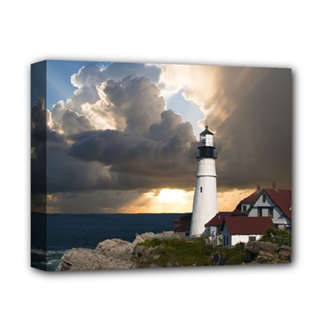 Lighthouse Beacon Light House Deluxe Canvas 14  X 11