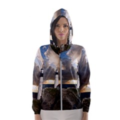 Lighthouse Beacon Light House Hooded Wind Breaker (women)