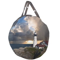 Lighthouse Beacon Light House Giant Round Zipper Tote