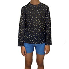 Grunge Pattern Black Triangles Kids  Long Sleeve Swimwear
