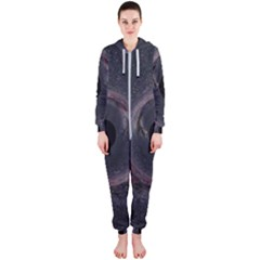 Black Hole Blue Space Galaxy Star Hooded Jumpsuit (ladies)