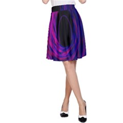 Black Hole Rainbow Blue Purple A Line Skirt