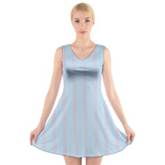Bleu Pink Line Vertical V Neck Sleeveless Skater Dress