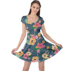 Aloha Hawaii Flower Floral Sexy Cap Sleeve Dress