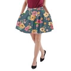 Aloha Hawaii Flower Floral Sexy A Line Pocket Skirt