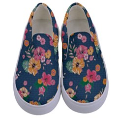 Aloha Hawaii Flower Floral Sexy Kids  Canvas Slip Ons
