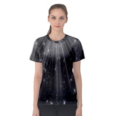 Black Rays Light Stars Space Women s Sport Mesh Tee