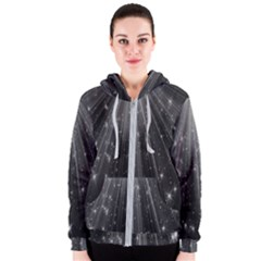 Black Rays Light Stars Space Women s Zipper Hoodie