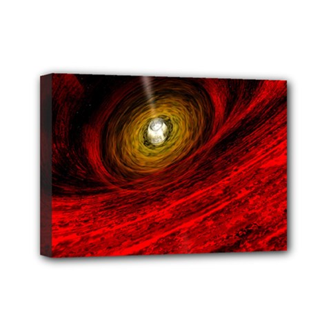 Black Red Space Hole Mini Canvas 7  X 5
