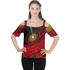 Black Red Space Hole Cutout Shoulder Tee