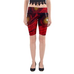 Black Red Space Hole Yoga Cropped Leggings