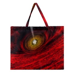 Black Red Space Hole Zipper Large Tote Bag