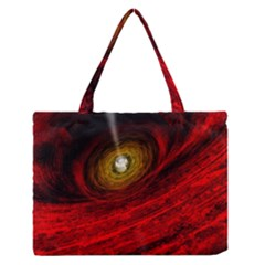 Black Red Space Hole Zipper Medium Tote Bag