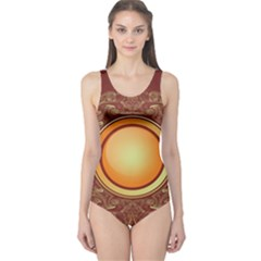 Badge Gilding Sun Red Oriental One Piece Swimsuit