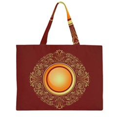 Badge Gilding Sun Red Oriental Zipper Large Tote Bag