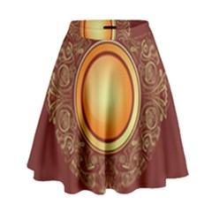 Badge Gilding Sun Red Oriental High Waist Skirt