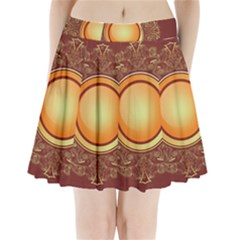 Badge Gilding Sun Red Oriental Pleated Mini Skirt