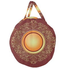 Badge Gilding Sun Red Oriental Giant Round Zipper Tote