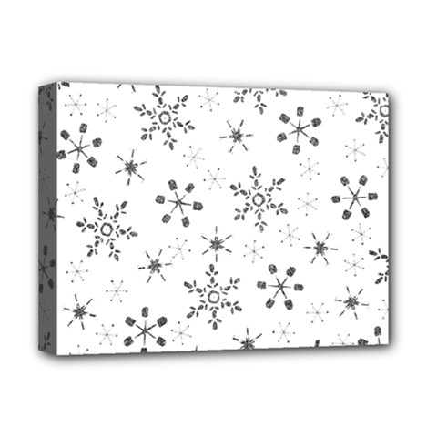 Black Holiday Snowflakes Deluxe Canvas 16  X 12