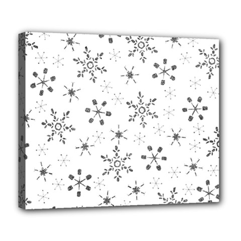 Black Holiday Snowflakes Deluxe Canvas 24  X 20