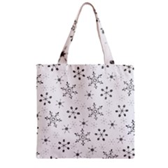 Black Holiday Snowflakes Zipper Grocery Tote Bag