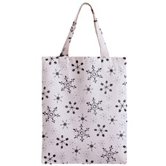 Black Holiday Snowflakes Zipper Classic Tote Bag