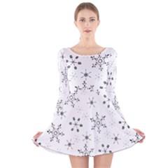 Black Holiday Snowflakes Long Sleeve Velvet Skater Dress