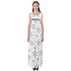 Black Holiday Snowflakes Empire Waist Maxi Dress