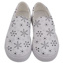 Black Holiday Snowflakes Men s Canvas Slip Ons