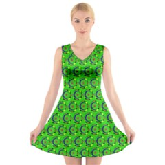 Abstract Art Circles Swirls Stars V Neck Sleeveless Skater Dress