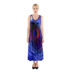 Blue Red Eye Space Hole Galaxy Sleeveless Maxi Dress