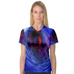 Blue Red Eye Space Hole Galaxy V Neck Sport Mesh Tee