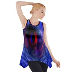 Blue Red Eye Space Hole Galaxy Side Drop Tank Tunic