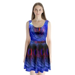 Blue Red Eye Space Hole Galaxy Split Back Mini Dress