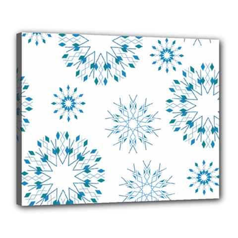 Blue Winter Snowflakes Star Triangle Canvas 20  X 16