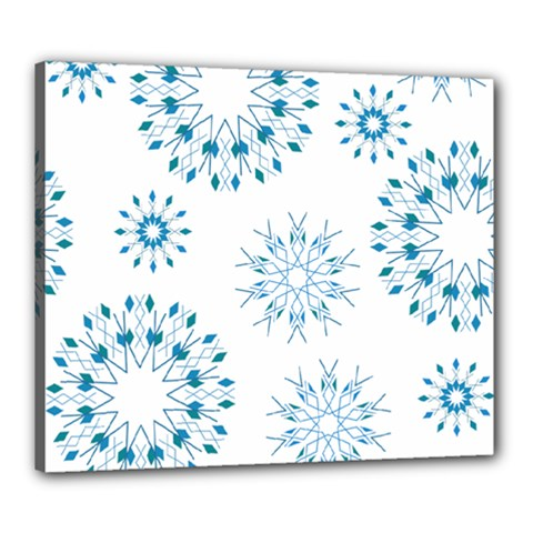 Blue Winter Snowflakes Star Triangle Canvas 24  X 20