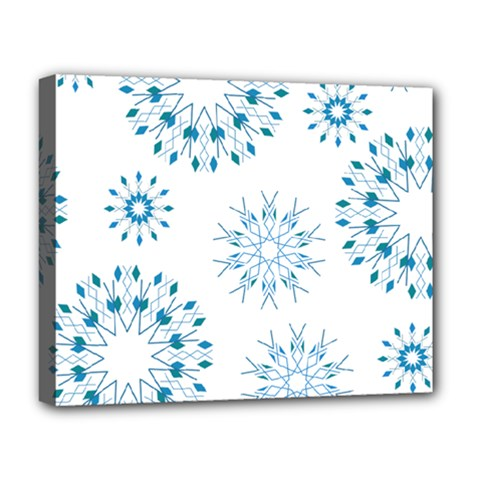Blue Winter Snowflakes Star Triangle Deluxe Canvas 20  X 16