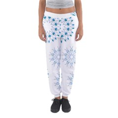 Blue Winter Snowflakes Star Triangle Women s Jogger Sweatpants