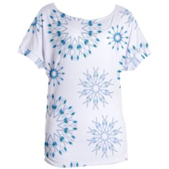 Blue Winter Snowflakes Star Triangle Women s Oversized Tee