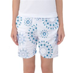 Blue Winter Snowflakes Star Triangle Women s Basketball Shorts