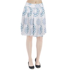 Blue Winter Snowflakes Star Triangle Pleated Skirt