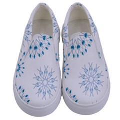 Blue Winter Snowflakes Star Triangle Kids  Canvas Slip Ons