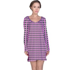 Pattern Grid Background Long Sleeve Nightdress