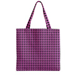 Pattern Grid Background Zipper Grocery Tote Bag