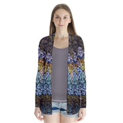 Multi Color Tile Twirl Octagon Drape Collar Cardigan
