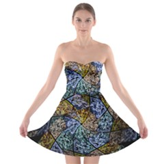 Multi Color Tile Twirl Octagon Strapless Bra Top Dress