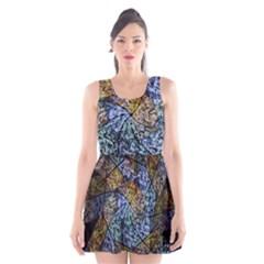 Multi Color Tile Twirl Octagon Scoop Neck Skater Dress